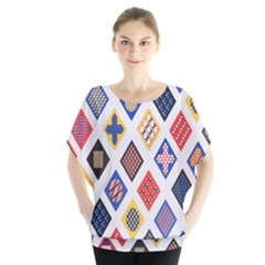 Plaid Triangle Sign Color Rainbow Blouse