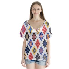 Plaid Triangle Sign Color Rainbow Flutter Sleeve Top