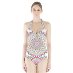 Kaleidoscope Star Love Flower Color Rainbow Halter Swimsuit
