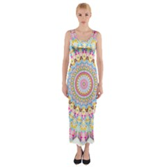 Kaleidoscope Star Love Flower Color Rainbow Fitted Maxi Dress