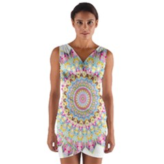 Kaleidoscope Star Love Flower Color Rainbow Wrap Front Bodycon Dress