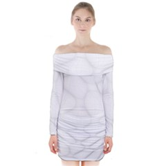 Line Stone Grey Circle Long Sleeve Off Shoulder Dress