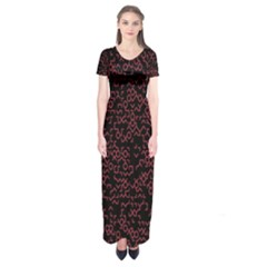 Random Pink Black Red Short Sleeve Maxi Dress