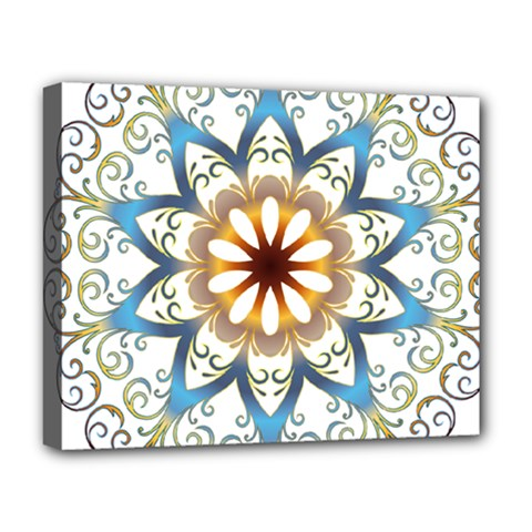 Prismatic Flower Floral Star Gold Green Purple Orange Deluxe Canvas 20  x 16