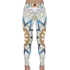 Prismatic Flower Floral Star Gold Green Purple Orange Classic Yoga Leggings