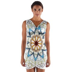 Prismatic Flower Floral Star Gold Green Purple Orange Wrap Front Bodycon Dress