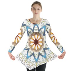 Prismatic Flower Floral Star Gold Green Purple Orange Long Sleeve Tunic