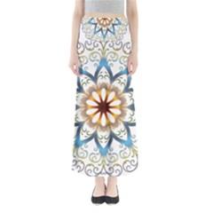 Prismatic Flower Floral Star Gold Green Purple Orange Maxi Skirts