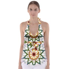 Prismatic Flower Floral Star Gold Green Purple Babydoll Tankini Top
