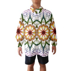 Prismatic Flower Floral Star Gold Green Purple Wind Breaker (Kids)