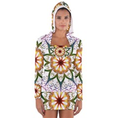 Prismatic Flower Floral Star Gold Green Purple Women s Long Sleeve Hooded T-shirt