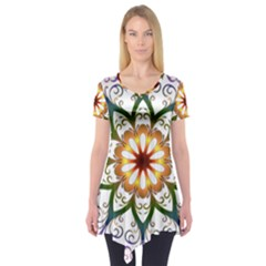 Prismatic Flower Floral Star Gold Green Purple Short Sleeve Tunic
