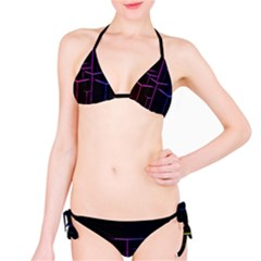 Space Light Lines Shapes Neon Green Purple Pink Bikini Set