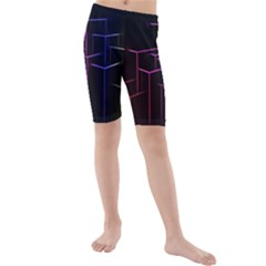 Space Light Lines Shapes Neon Green Purple Pink Kids  Mid Length Swim Shorts