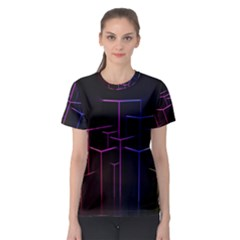 Space Light Lines Shapes Neon Green Purple Pink Women s Sport Mesh Tee