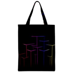 Space Light Lines Shapes Neon Green Purple Pink Zipper Classic Tote Bag
