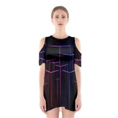 Space Light Lines Shapes Neon Green Purple Pink Shoulder Cutout One Piece