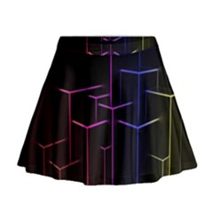 Space Light Lines Shapes Neon Green Purple Pink Mini Flare Skirt
