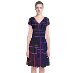 Space Light Lines Shapes Neon Green Purple Pink Short Sleeve Front Wrap Dress