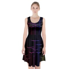 Space Light Lines Shapes Neon Green Purple Pink Racerback Midi Dress