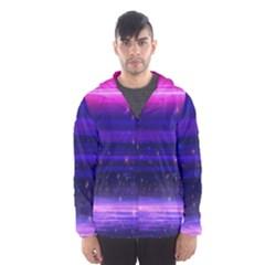Space Planet Pink Blue Purple Hooded Wind Breaker (Men)