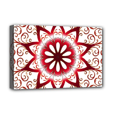 Prismatic Flower Floral Star Gold Red Orange Deluxe Canvas 18  x 12