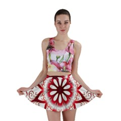 Prismatic Flower Floral Star Gold Red Orange Mini Skirt