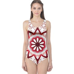 Prismatic Flower Floral Star Gold Red Orange One Piece Swimsuit