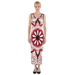 Prismatic Flower Floral Star Gold Red Orange Fitted Maxi Dress