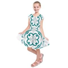 Vintage Floral Star Flower Blue Kids  Short Sleeve Dress