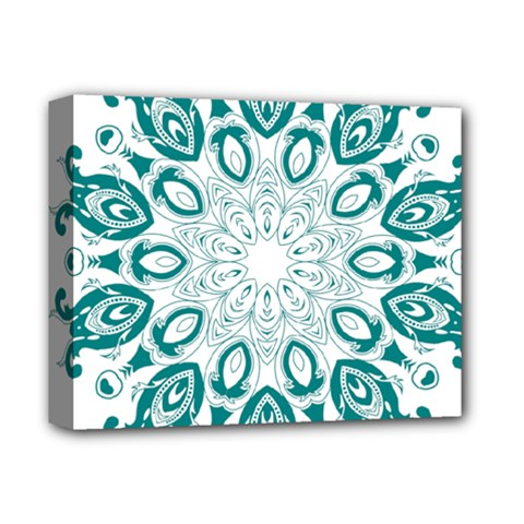 Vintage Floral Star Blue Green Deluxe Canvas 14  X 11