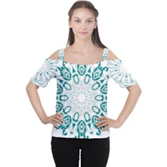 Vintage Floral Star Blue Green Women s Cutout Shoulder Tee