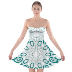 Vintage Floral Star Blue Green Strapless Bra Top Dress
