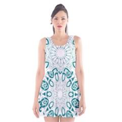 Vintage Floral Star Blue Green Scoop Neck Skater Dress