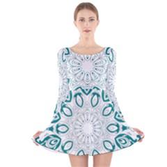 Vintage Floral Star Blue Green Long Sleeve Velvet Skater Dress
