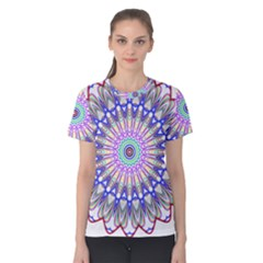 Prismatic Line Star Flower Rainbow Women s Cotton Tee