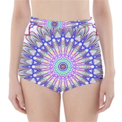 Prismatic Line Star Flower Rainbow High-Waisted Bikini Bottoms