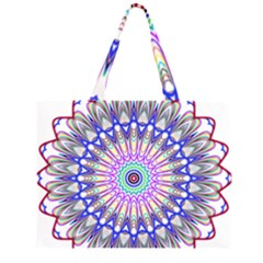 Prismatic Line Star Flower Rainbow Large Tote Bag