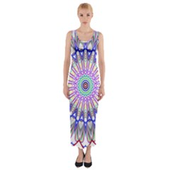 Prismatic Line Star Flower Rainbow Fitted Maxi Dress