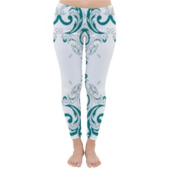 Vintage Floral Style Frame Classic Winter Leggings
