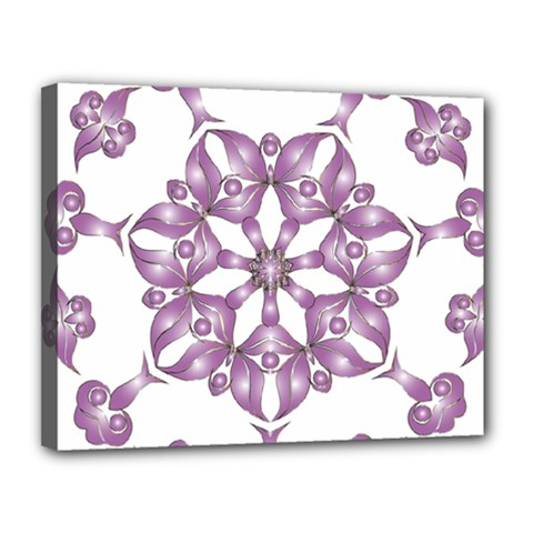 Frame Flower Star Purple Canvas 14  x 11