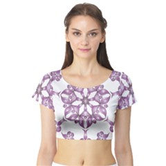 Frame Flower Star Purple Short Sleeve Crop Top (Tight Fit)