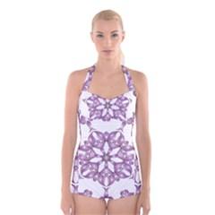 Frame Flower Star Purple Boyleg Halter Swimsuit