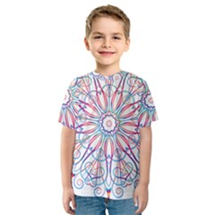 Frame Star Rainbow Love Heart Gold Purple Blue Kids  Sport Mesh Tee