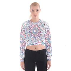 Frame Star Rainbow Love Heart Gold Purple Blue Women s Cropped Sweatshirt