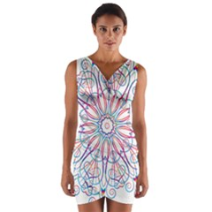 Frame Star Rainbow Love Heart Gold Purple Blue Wrap Front Bodycon Dress