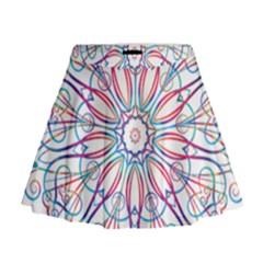 Frame Star Rainbow Love Heart Gold Purple Blue Mini Flare Skirt