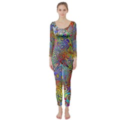 Glass Rainbow Color Long Sleeve Catsuit
