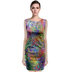 Glass Rainbow Color Classic Sleeveless Midi Dress