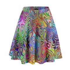 Glass Rainbow Color High Waist Skirt